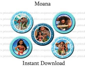 Instant Download - Moana Bottle Cap Image Sheet