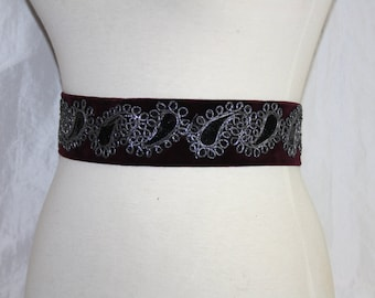 Velvet belt - embroidered Paisley - burgundry velvet - waist belt-