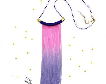 PINK Sky // Pink Blue Necklace, Fringe Necklace, Pink Blue Fringe Necklace, Blue Fringe Necklace, Pink Fringe Necklace, Ro