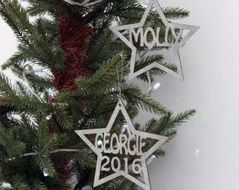 Star Christmas Tree Decoration - Wood or Glitter finish Personalised with Name and Year