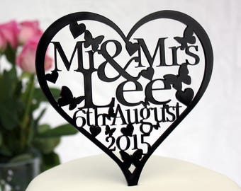 Wedding Cake Topper Personalised with ANY Surname & Date Heart shaped