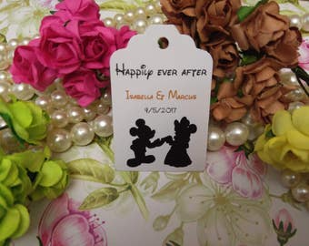Happily ever after Tag. Fairy Tale Tags. Mickey and minnie tags. Disney inspired, Set of 25 to 300 pieces, Mini tag