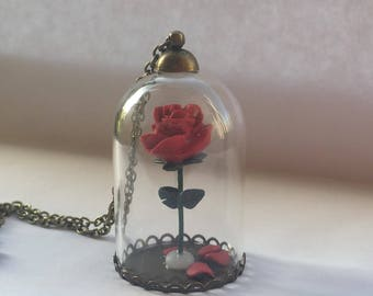 Beauty and the Beast Enchanted Rose/ Necklace/Polymer Clay