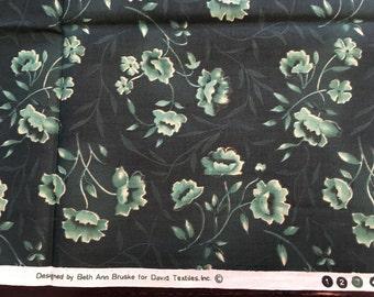 Blue Green Cotton Fabric, Quilting Fabric, Beth Ann Bruske, David Textiles, Floral Fabric, Half Yard