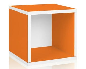 Storage stackable Cube box - orange bookcase Kit unassembled roombox dollhouse doll miniature display 1/12 scale zBoard paperboard