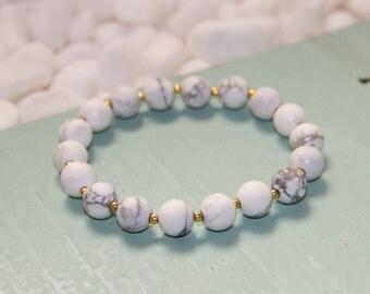 Howlite Bracelet, White Marble Bracelet, White Howlite Bracelet, Howlite Jewelry, Stacking Bracelet, Gemstone Bracelet, White Stone Bracelet