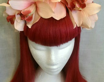 Peach , cream and pink day of the dead wedding headband