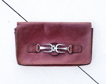 Vintage Oxblood Leather Wallet | Midcentury Coin Purse | Mini Hand Bag