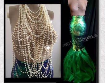 2pc Pearl Top and Green Mermaid Tail - Sexy High Waist - Adult Halloween Costume