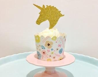 12ct Glitter unicorn cupcake topper, birthday unicorn cupcake topper, unicorn cupcake topper