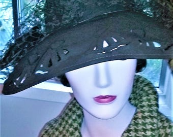 1930s Brown Portrait Hat with Cut Outs & Open Crown with Feathers, Netting