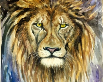 "Original Water color painting, Lion, 10""x8"", 1611031, children art, nursery art"
