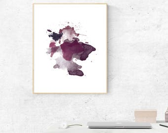 Red Wine Watercolor Splash, Art Print, Printable Wall Art, Printable