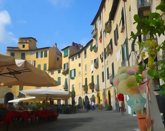 Watercolour Fine art photography print  - Lucca Italy Travel Photography Print - Yellow wall art - Travel print Italy