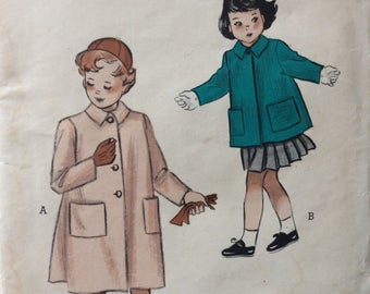 Butterick 5624 girls coat size 8 vintage 1950's sewing pattern