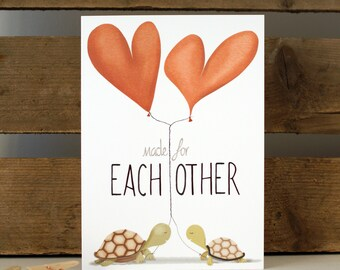 Made for each other Greeting Card Everyday Love Turtles Hearts 7x5""