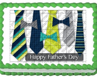 HAPPY FATHERS DAY Ties Edible Image