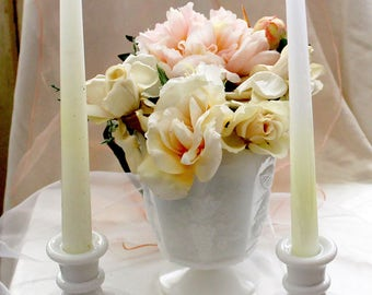 MilkGlass Footed/Pedestal Vase, Vintage NAPCO 1186, Cleveland, Ohio: Grape and Cherry design.
