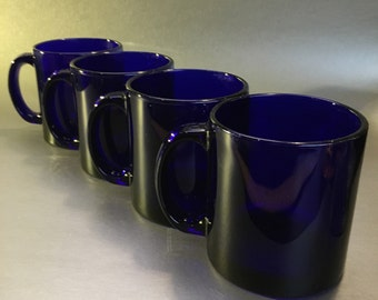 2 of 4 Libbey USA Glass Cobalt Blue Sapphire Vintage Coffee Cup Mug