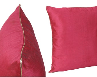 Set of 2 Solid Ruby Red Pillow Covers With Silver/Gold Piping Red Sham Cover 14x14 16x16 18x18 20x20 22x22 24x24 26x26