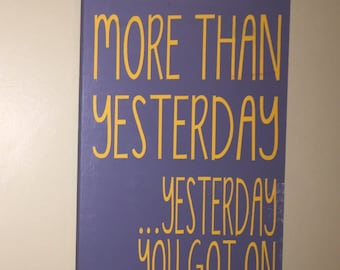 I love you more than yesterday wood sign, silly couples wood decor, hand painted i love you sign, i love you wall decor