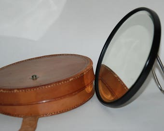 Genuine Vintage (1950's?) era Travel (Shaving) Mirror in Leather Case -- Free Shipping!