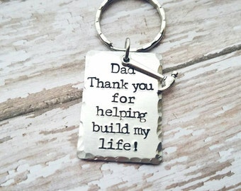 Dad Gift - Father's Day Keychain - Thank you Dad - Builder Dad - Hand Stamped