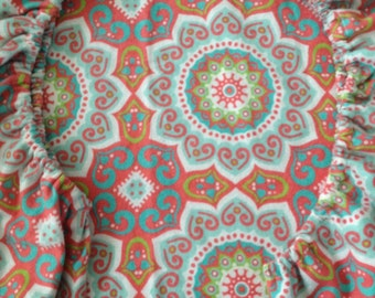 Baby Crib Sheet or Toddler Bed Sheet - Large Coral and Blue Medallions - Flannel