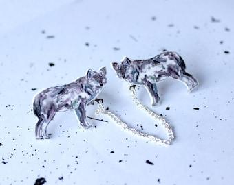 Watercolour Wolf Collar Clips