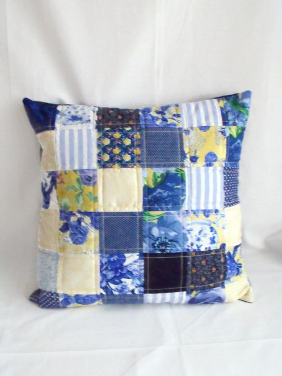 """throw accent pillow, scatter cushion, patchwork cushion cover, quilted pillow slip, blue and yellow, 17.5 x 17.5"""""""