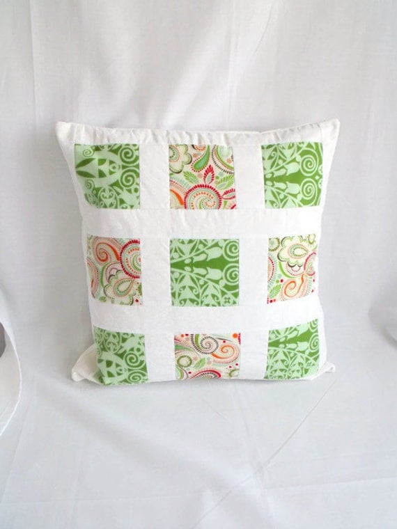 throw accent pillow, patchwork cushion cover, scatter cushion, quilted pillow slip, green fabric, 16.5 x 16.5