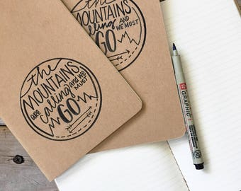 The Mountains Are Calling, Journal, Scripture Gift, Hand Lettered, Personalized, Notebook, Moleskine