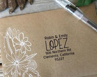 Custom Rubber Stamp Design, Return Address, Rubber Stamp, Modern Calligraphy Wood Stamp, Hand Lettered Stamp, STACKED