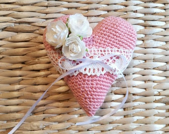 Wedding Heart Pillow Ring pillow Wedding ring pillow Ring Bearer Pillow Rustic ring pillow