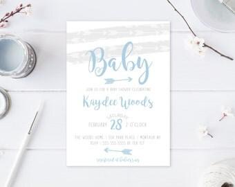 Baby Shower Invitation, Boho, Boy Baby Shower Invitation, Baby Shower, Bohemian, Arrows, Blue, Baby Boy, Baby Shower Invites, Custom [583]
