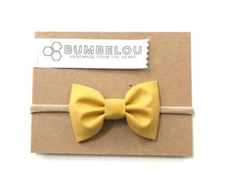 Classic Fabric Bow - Mustard - Headband or Clip