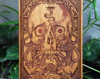 Cthulhu Human Skull Engraved on Wood, Hp Lovecraft, The Kraken Octopus, Wooden Man Cave Sign, Skull Collectible Art Man Cave Gift for Him