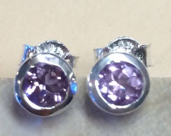 Genuine Pink Amethyst 925 Solid Sterling Silver Stud Earrings 5mm Long