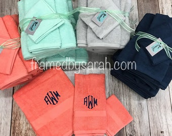Monogrammed 3 piece Towel Set