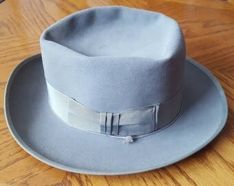 RESISTOL HATS Harry Rolnick Men's Gray Fedora Hat Small Size 6 & 3/4 Vintage