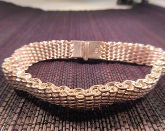 Retro Chain Maille Sterling Silver Bracelet - Heavy