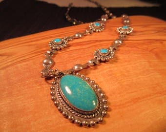 Cool Tribal Sterling Silver Turquoise Necklace