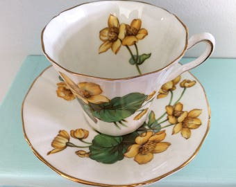 Bone China Cup & Saucer by Adderley 1789 H505 Yellow Flowers