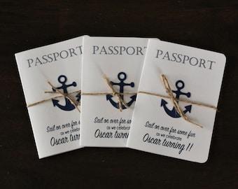 Passport Nautical Birthday Invitations- Anchor invites - Sailing Invitations - Set of 15