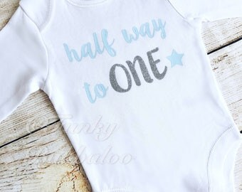 Half Birthday - 6 Month Baby Boy Outfit - Light Blue Silver Bodysuit - Photoshoot, Photo Prop Baby Shower Gift Onesie T Shirt Boys