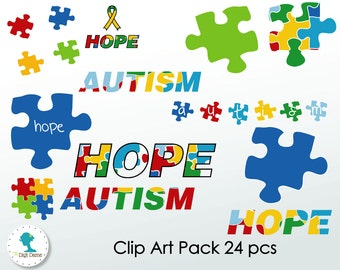 Autism Hope Digital Scrapbooking Clip Art, Proceeds to Charity. Instant Download