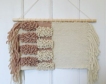 Blush and Off-White Hand Woven Wall Hanging with Side Fringe