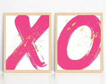Hot Pink X and O *KISSES + HUGS* with Gold Splatter | Modern Prints A3 | Abstract |Wall Decor