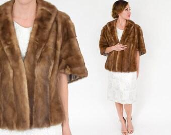 60s Blush Mink Fur Stole | Fur Wrap Caplet