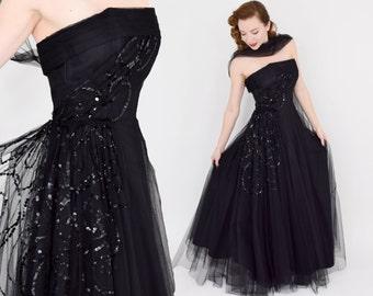 40s Black Strapless Evening Dress | Black Tulle & Sequin Strapless Formal | Small